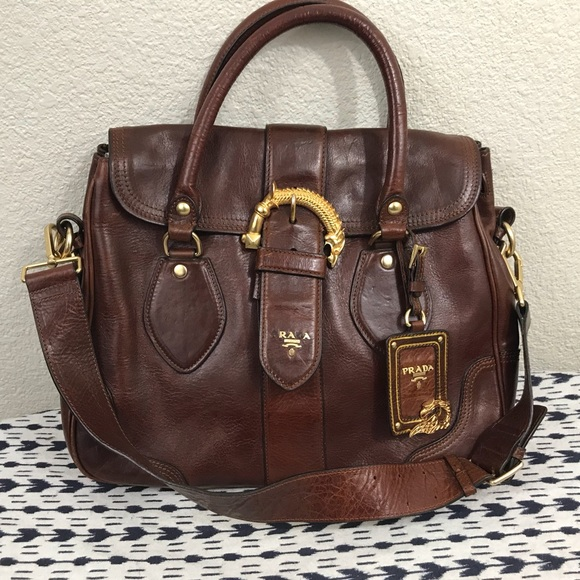 b7291753f430 Prada Animalier Cervo Brown Leather Handbag Purse.  M 5b4601c712cd4a1cd7278afc